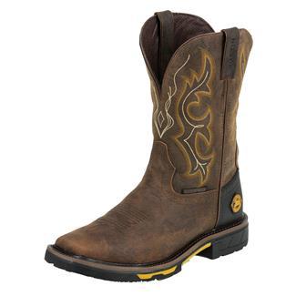 "Justin Original Work Boots 11"" Hybred Square Toe WP Rustic Barnwood"
