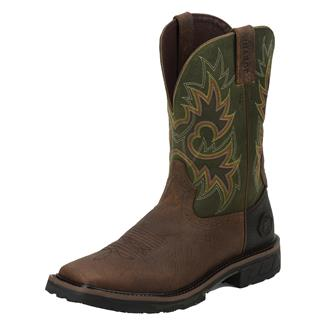 "Justin Original Work Boots 11"" Hybred Square Toe Rustic Barnwood / Charcoal Green"