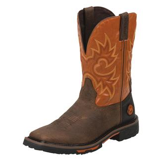 "Justin Original Work Boots 11"" Hybred Square Toe Rustic Barnwood / Orange"