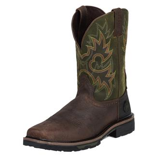 """Justin Original Work Boots 11"""" Hybred Square Toe CT Rustic Barnwood / Charcoal Green"""