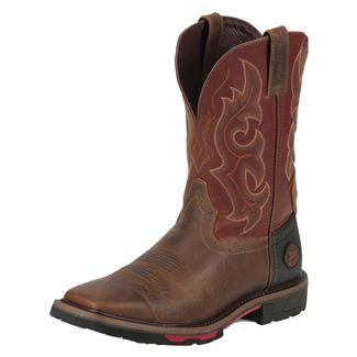 """Justin Original Work Boots 11"""" Hybred Square Toe TecTuff Rugged Tan / Red Oiled"""