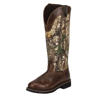 "Justin Original Work Boots 17"" Stampede Snake Boots SZ WP Rugged Tan / RealTree AP"
