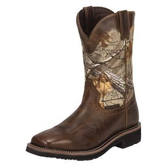 "Justin Original Work Boots 11"" Stampede Square Toe Non-Metallic WP Rugged Tan / RealTree AP"