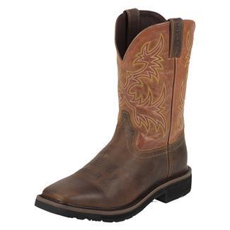 "Justin Original Work Boots 11"" Stampede Square Toe Non-Metallic Rugged Tan / American Orange"