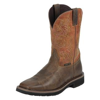 "Justin Original Work Boots 11"" Stampede Square Toe CT Rugged Tan / American Orange"