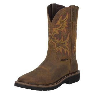 "Justin Original Work Boots 11"" Stampede Square Toe ST Rugged Tan"