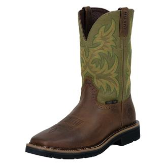 """Justin Original Work Boots 11"""" Stampede Square Toe ST Waxy Brown / Hunter Green"""