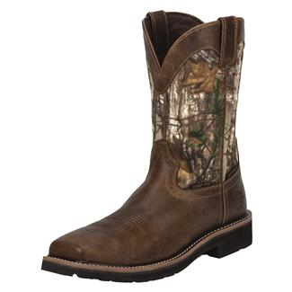 "Justin Original Work Boots 11"" Stampede Square Toe CT WP Rugged Tan / RealTree AP"
