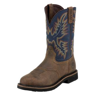 "Justin Original Work Boots 11"" Stampede Round Toe Copper Kettle Rowdy / Steel Blue"