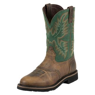 "Justin Original Work Boots 11"" Stampede Round Toe Rugged Tan / Blade Green"