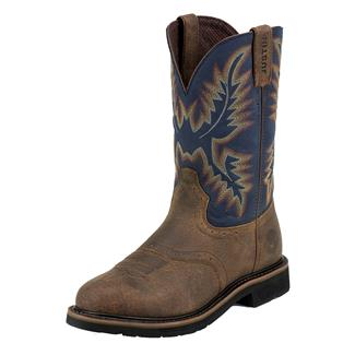 "Justin Original Work Boots 11"" Stampede Round Toe ST Copper Kettle Rowdy / Steel Blue"