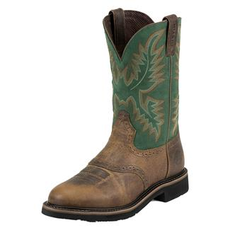 "Justin Original Work Boots 11"" Stampede Round Toe ST Rugged Tan / Blade Green"
