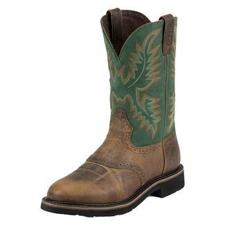 "Justin Original Work Boots 11"" Stampede Round Toe ST Rugged Tan / Blade Green"