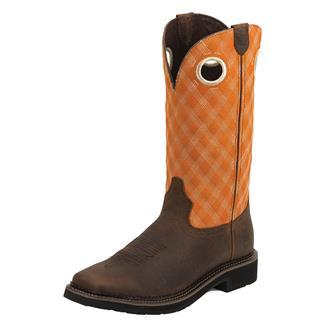 "Justin Original Work Boots 13"" Stampede Square Toe Rustic Barnwood / Flame Orange"