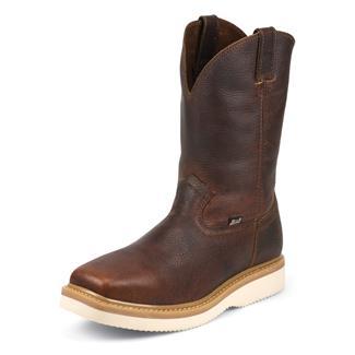 """Justin Original Work Boots 11"""" Premium & Light Duty Square Toe Wedge Tan Premium"""