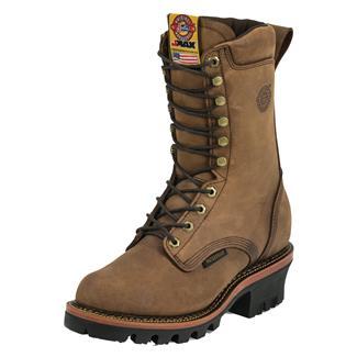 "Justin Original Work Boots 10"" J-Max Logger WP Rugged Aged Bark Gaucho"