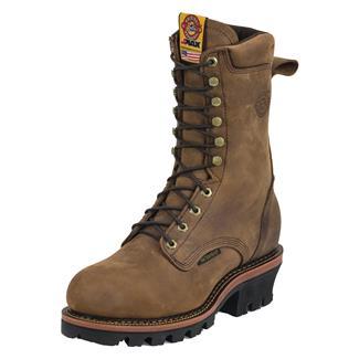 "Justin Original Work Boots 10"" J-Max Logger ST WP Rugged Aged Bark Gaucho"