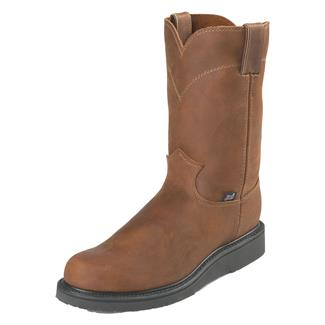 """Justin Original Work Boots 10"""" Double Comfort Round Toe Wedge Aged Bark"""