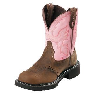"Justin Original Work Boots 8"" Gypsy Round Toe ST Bay Apache / Pink Cowhide"