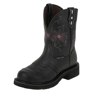 "Justin Original Work Boots 8"" Gypsy Round Toe ST WP Black Pebble Grain"