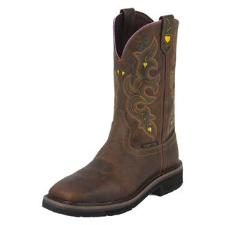 "Justin Original Work Boots 11"" Stampede Square Toe CT Rugged Tan / Yellow"