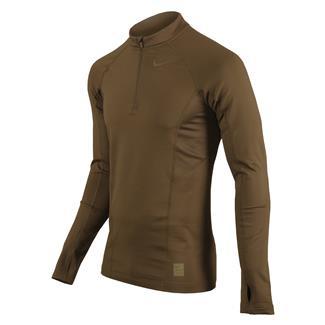 NIKE Long Sleeve Hyperwarm Special Field Fitted 1/4 Zip Mock Military Brown