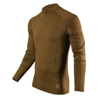 NIKE Long Sleeve Hyperwarm Special Field Fitted Mock Military Brown