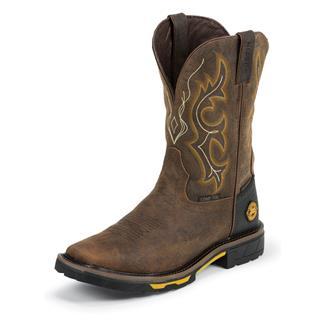 "Justin Original Work Boots 11"" Hybred Square Toe CT WP Rustic Barnwood"