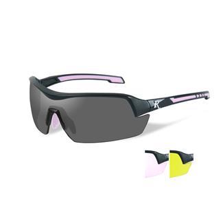 Wiley X Remington Platinum Grade Shooting and Hunting Smoke / Clear Rose / Yellow 3 Lenses Matte Black / Pink