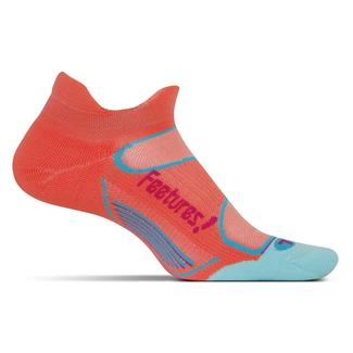 Feetures! Elite Light Cushion No Show Tab Socks Coral / Deep Pink