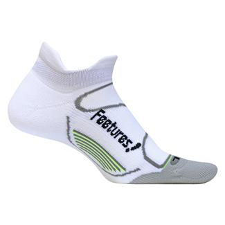 Feetures! Elite Light Cushion No Show Tab Socks White / Black