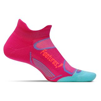 Feetures! Elite Light Cushion No Show Tab Socks Deep Pink / Aruba Blue