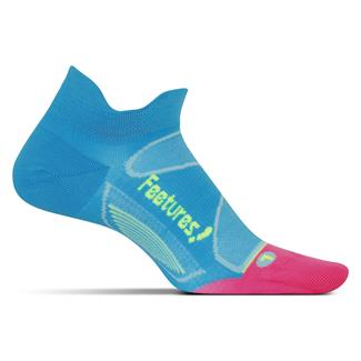 Feetures! Elite Ultra Light No Show Tab Socks Hawaiian Blue / Reflector