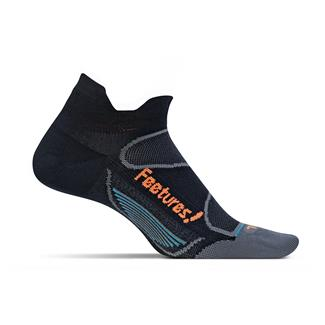 Feetures! Elite Ultra Light No Show Tab Socks Black / Electric Orange
