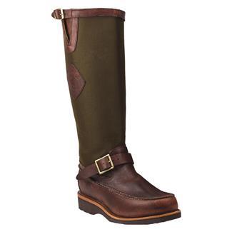 "Chippewa Boots 17"" Pull-on Moc Toe Snake Boots Mahogany / Upland Espresso"