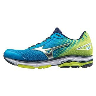 Mizuno Wave Rider 19 Dude Blue / Silver / Safety Yellow