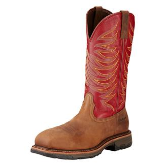 """Ariat 13"""" Workhog Wide Square Toe II CT Distressed Brown / Ruby Red"""