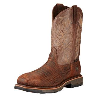 "Ariat 11"" Workhog Wide Square Toe CT Brown Croco Print / Dark Chocolate"