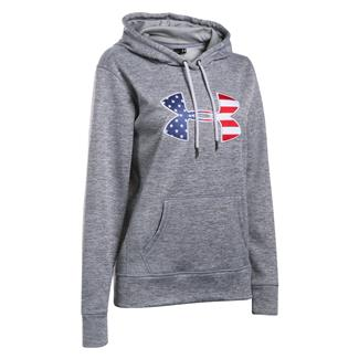 Under Armour ColdGear Big Flag Logo Hoodie True Gray Heather / White