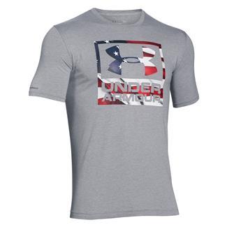 Under Armour HeatGear Big Flag Logo T-Shirt True Gray Heather / White