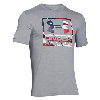 Under Armour HeatGear Big Flag Logo T-Shirt True Gray Heather / White