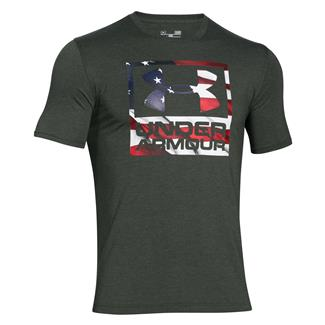 Under Armour HeatGear Big Flag Logo T-Shirt Combat Green / White