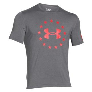 Under Armour HeatGear Freedom T-Shirt Carbon Heather / Rocket Red