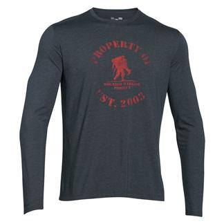 Under Armour HeatGear Long Sleeve Property of WWP T-Shirt Stealth Gray / Rocket Red