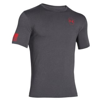 Under Armour HeatGear WWP Freedom Flag T-Shirt Carbon Heather / Rocket Red