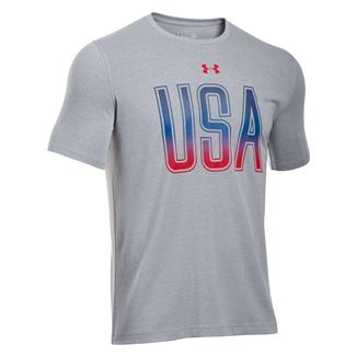 Under Armour USA Freedom T-Shirt True Gray Heather / Rocket Red
