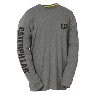 CAT Long Sleeve Trademark Banner T-Shirt Dark Heather Gray