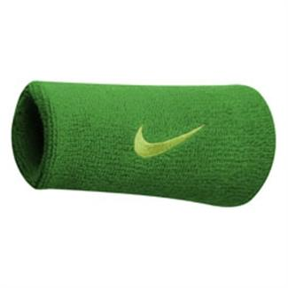 NIKE Swoosh Doublewide Wristband (2 pack) Spring Leaf / Voltage Green