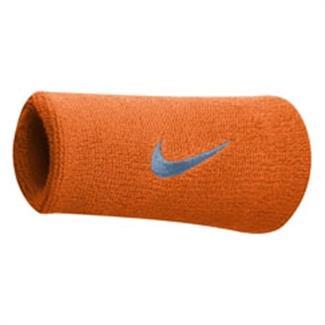 NIKE Swoosh Doublewide Wristband (2 pack) Vivid Orange / Ocean Fog