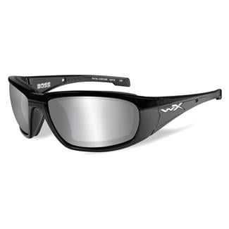 Wiley X Boss Gloss Black (frame) - Silver Flash (Smoke Gray) (lens)